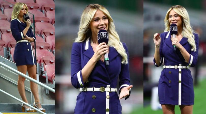 Diletta Leotta, che eleganza per Milan-Juve