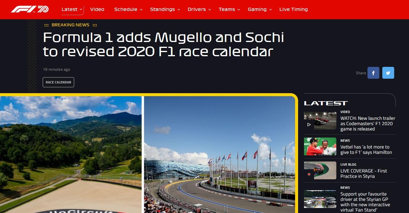 F1: Mugello incluso nel calendario 2020