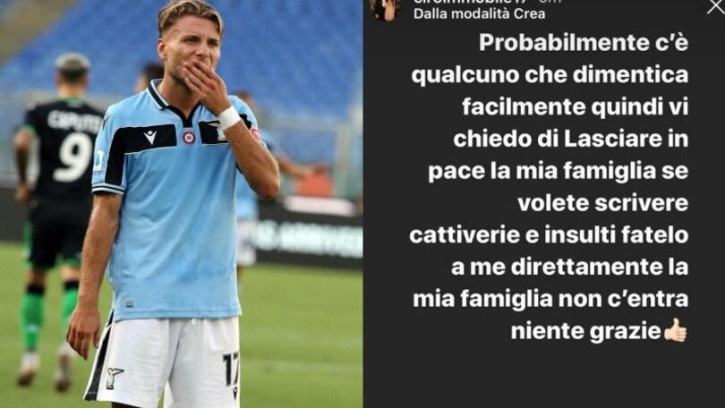 """Lazio, lo sfogo di Immobile: """"Insultate me, ma lasciate in pace la mia famiglia"""""""