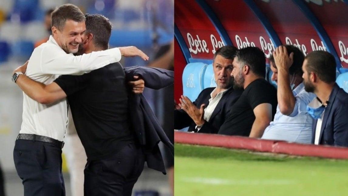 I due ex compagni in rossonero si ritrovano al San Paolo e si scambiano due chiacchiere in panchina prima del match