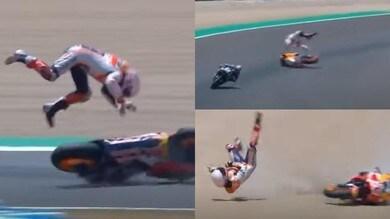 Marquez, clamorosa caduta nel Gp di Spagna e omero ko