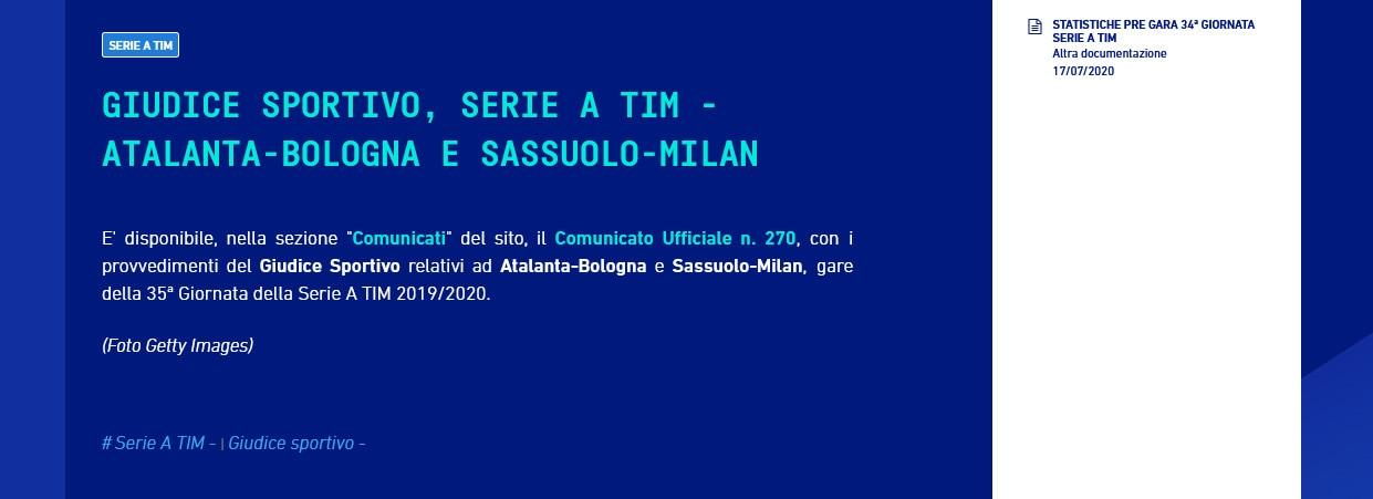 Serie A, un turno di squalifica per Gasperini per la lite con Mihajlovic