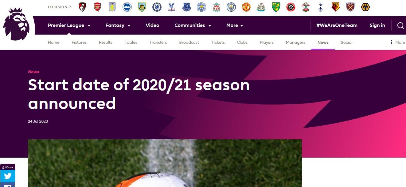 Ufficiale: la Premier League 2020-21 inizierà il 12 settembre