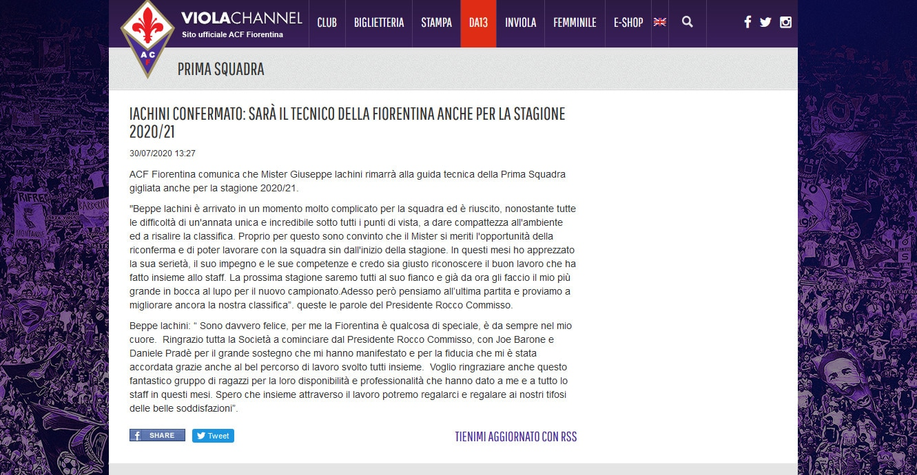 Fiorentina: Iachini confermato per un'altra stagione