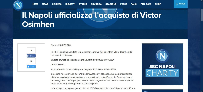 Ufficiale: Osimhen nuovo giocatore del Napoli