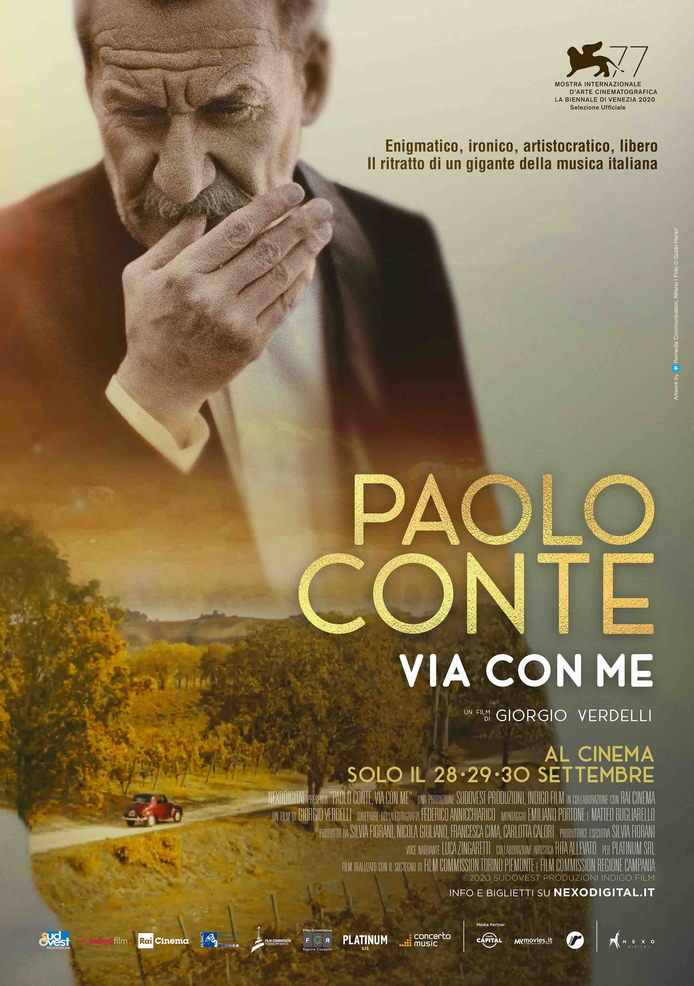 Paolo Conte, via con me: il documentario-evento a Venezia e poi al cinema
