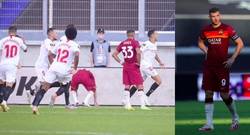 Roma ko contro il Siviglia, la delusione di Dzeko