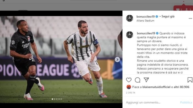 Bonucci e Cuadrado, delusione sui social per l'eliminazione della Juve
