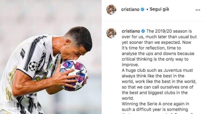 Ronaldo, il messaggio alla Juve sui social. Ma non cita Sarri...