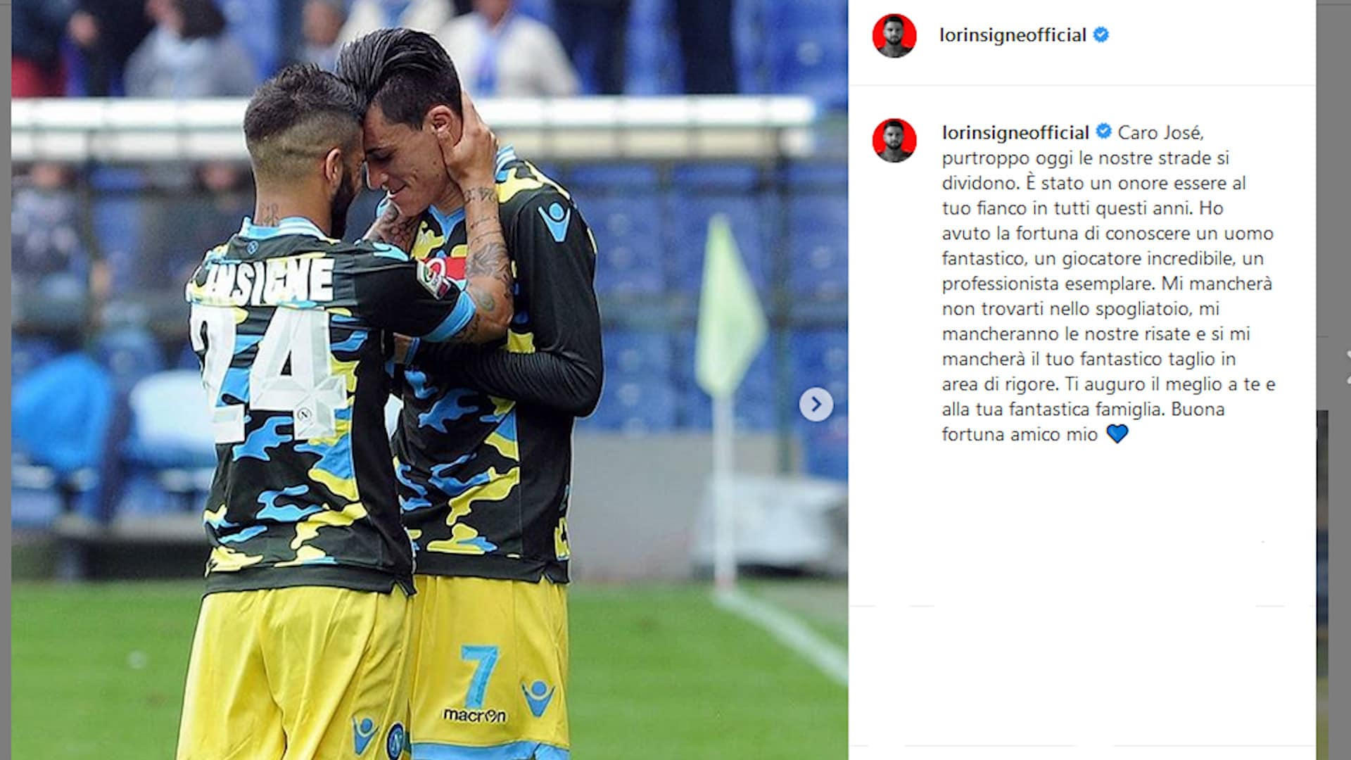 """Napoli, Insigne saluta Callejon: """"Un onore essere al tuo fianco"""""""