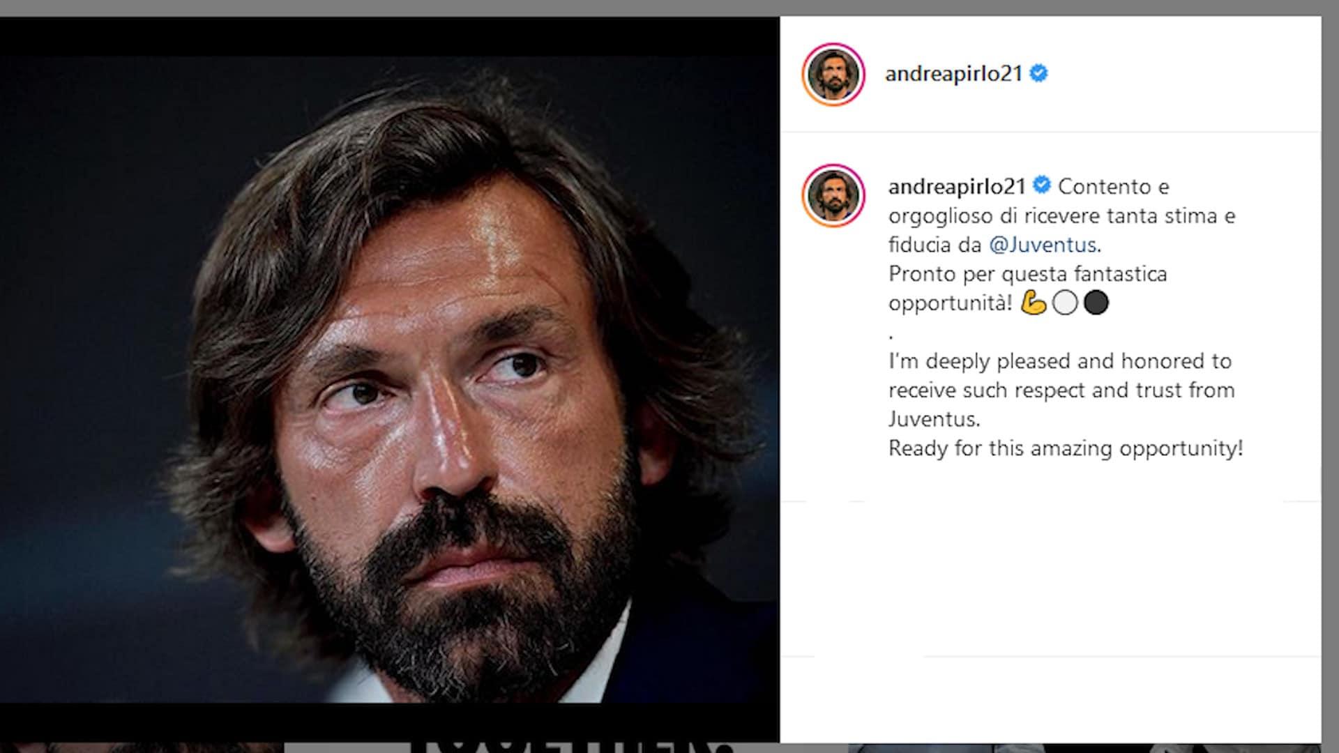 Juve, Pirlo esprime gratitudine per la fiducia del club