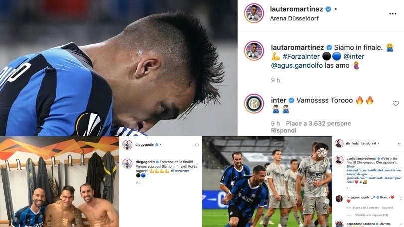 L'Inter è in finale di Europa League. Da D'Ambrosio a Lautaro Martinez, festa grande sui social