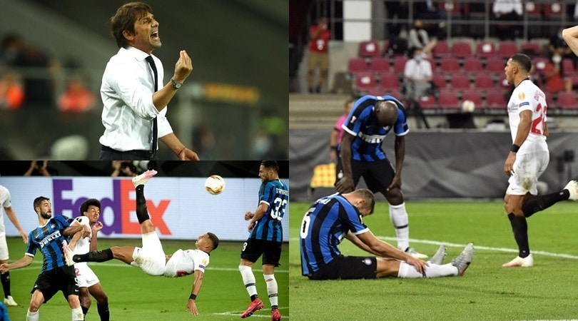 Inter, il sogno di Conte sfuma sulla deviazione di Lukaku. È festa Siviglia