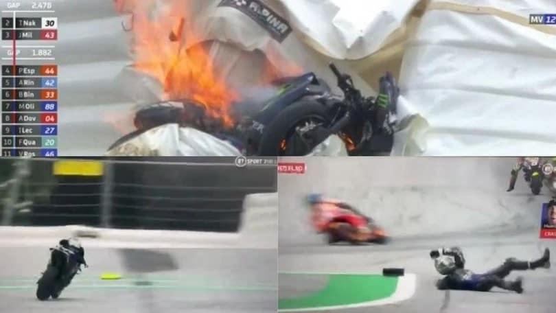 MotoGp, paura Vinales: salta dalla moto a 220 all'ora prima dello schianto