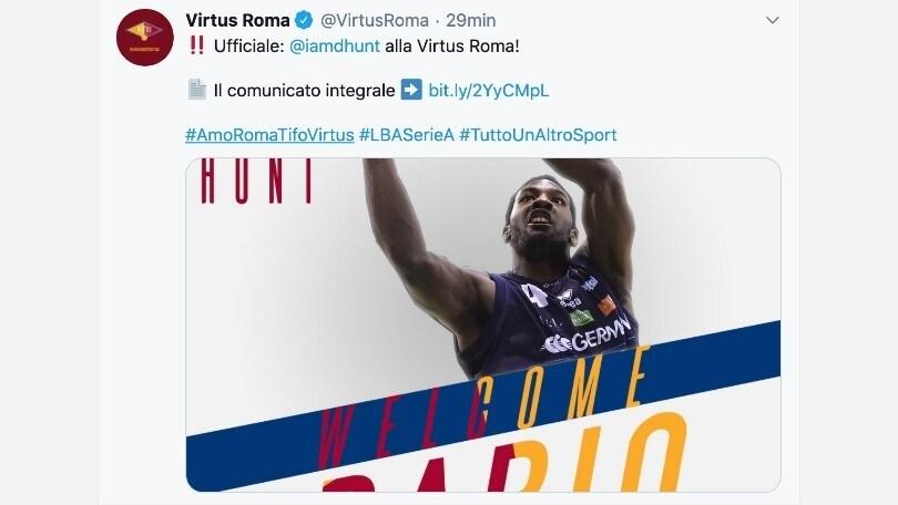Virtus Roma, ecco Hunt: è ufficiale