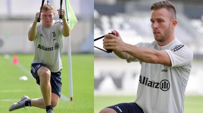 Juve, la carica di Kulusevski e Arthur in allenamento