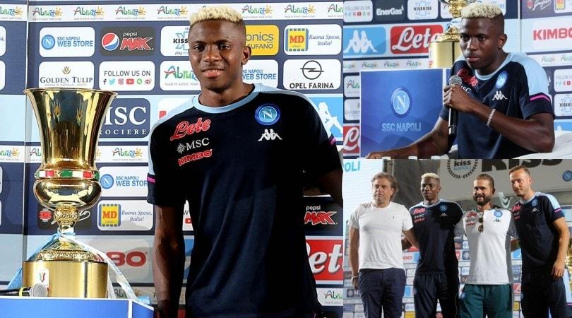Napoli, Osimhen posa subito con la Coppa Italia