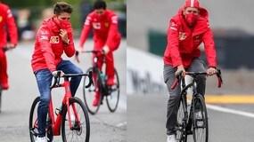 Leclerc e Vettel verso il GP del Belgio... in bicicletta!