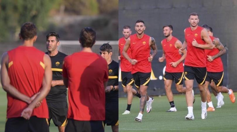 Roma in campo dopo la paura per il Covid: Dzeko c'è, Fonseca parla alla squadra