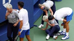 Djokovic, pallata alla giudice di linea