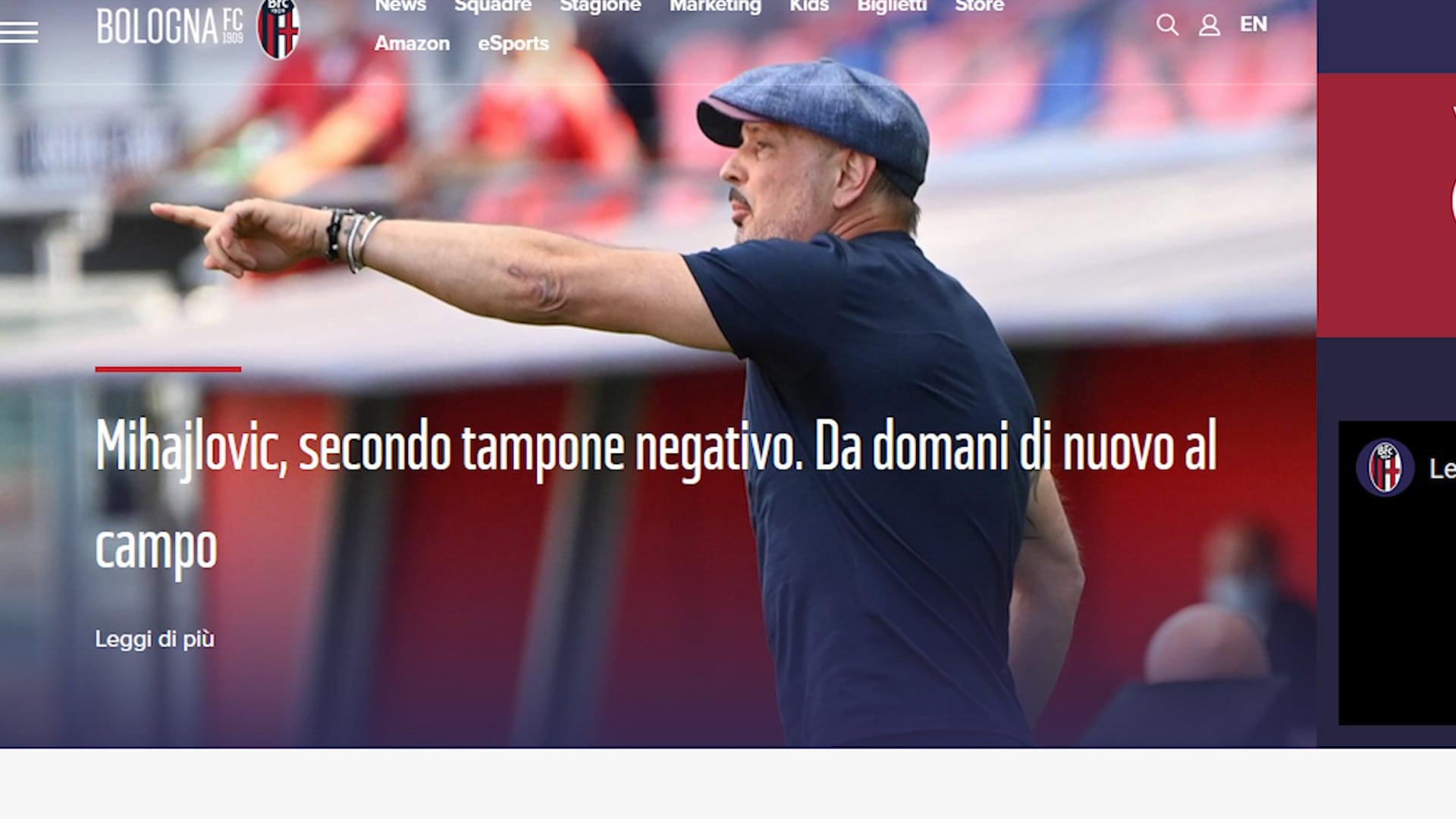 Bologna, Mihajlovic è guarito dal Coronavirus
