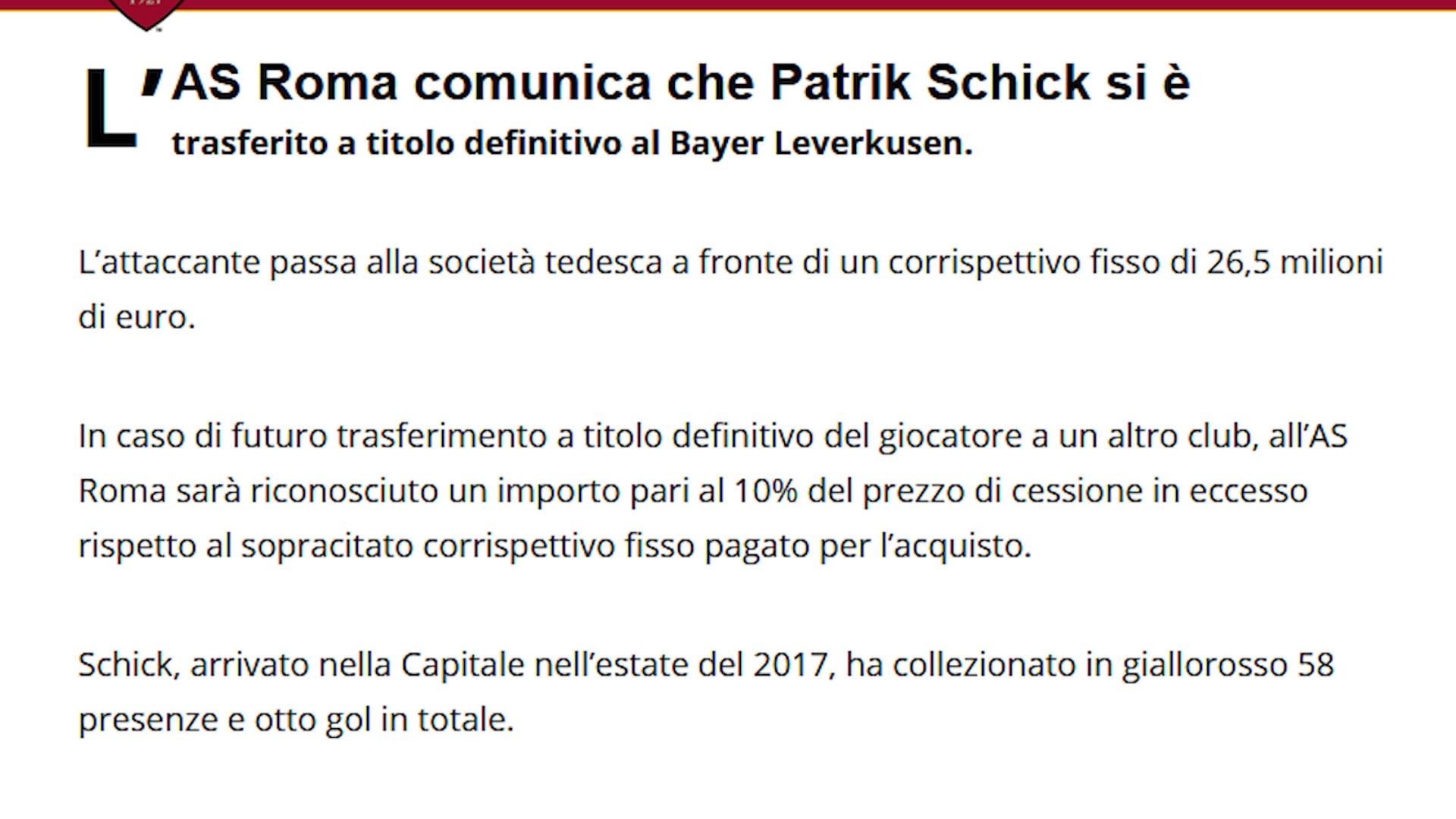 Roma, ufficiale la cessione di Schick al Bayer Leverkusen