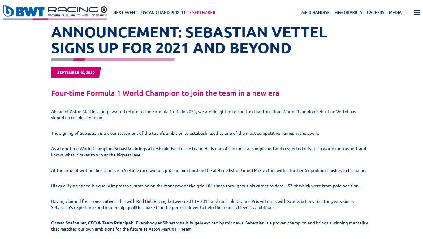 F1, Vettel nuovo pilota della Aston Martin