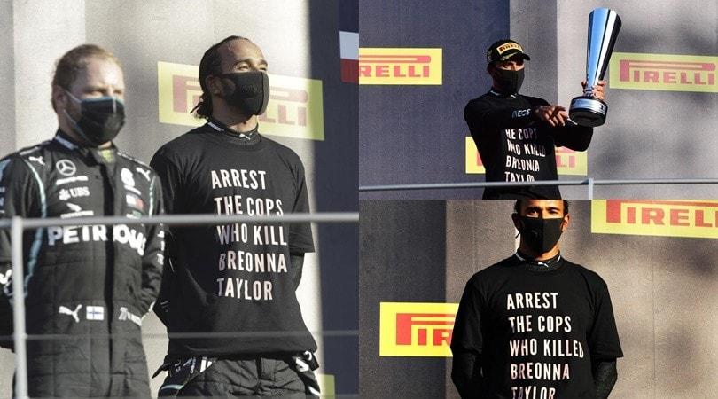 """Hamilton, maglia speciale sul podio: """"Arrestate i poliziotti che hanno ucciso Taylor"""""""