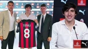 Tonali si presenta al Milan e mostra la 8