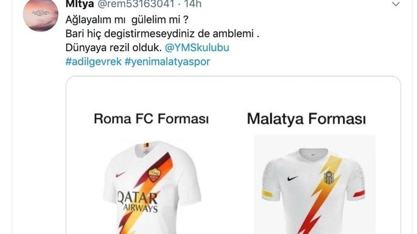 Critiche sul Malatyaspor, la sua maglia è identica a quella della Roma