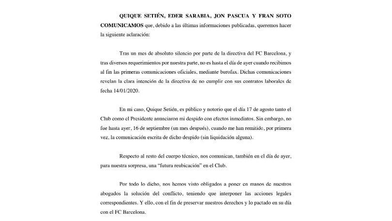Setien fa causa al Barcellona: contestate le modalità del licenziamento