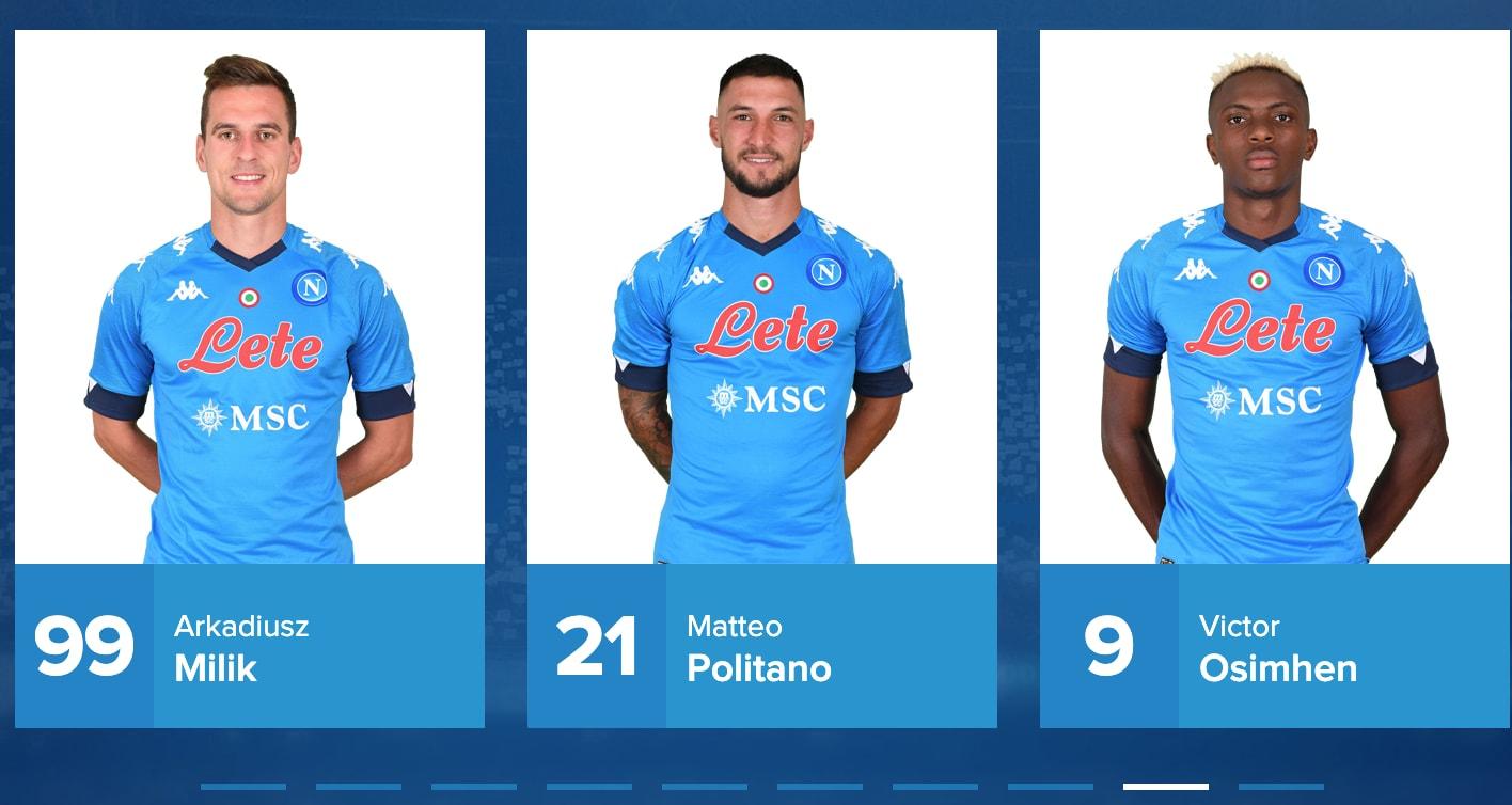 Il Napoli dà i numeri: la 9 a Osimhen, c'è anche Milik