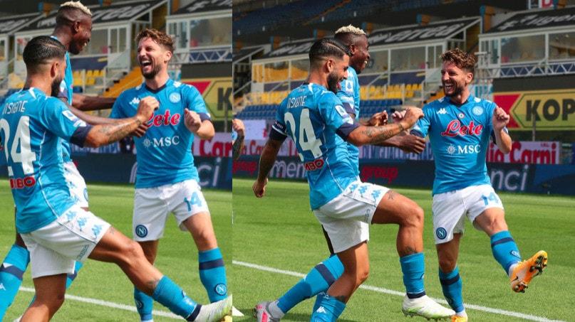 Napoli-Parma, l'esultanza di Mertens con Osimhen e Insigne