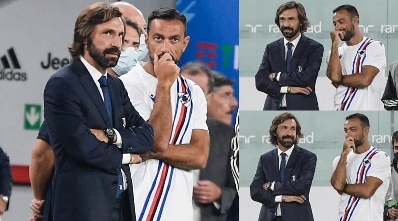 Pirlo debutta allo Stadium: abbracci e sorrisi con Quagliarella
