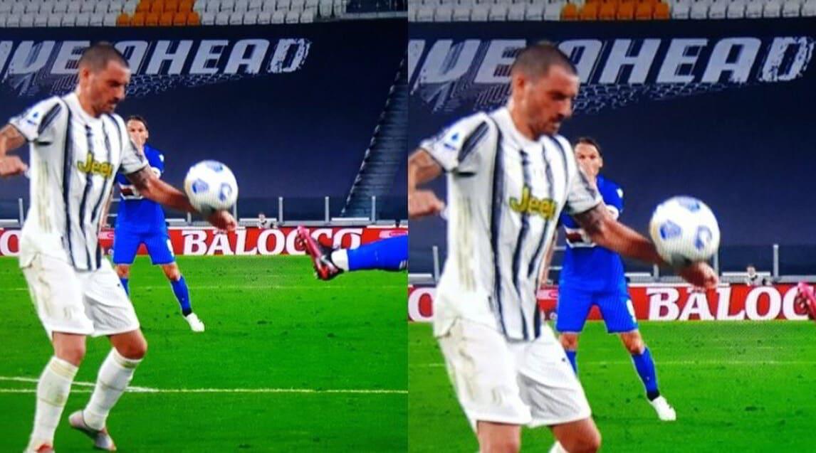 <p>La fotosequenza dell&#39;episodio durante il primo tempo di Juve-Sampdoria all&#39;Allianz Stadium: l&#39;arbitro Piccinini e il Var Calvarese lo hanno giudicato non punibile</p>