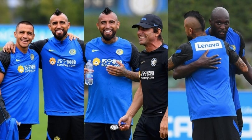Vidal all'Inter, Conte esulta in allenamento