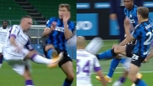 Inter-Fiorentina, entrataccia di Barella su Ribery: le immagini