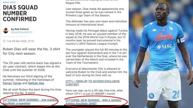 Giallo Manchester City, sul sito si può vincere la maglia autografata di Koulibaly!