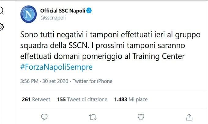 Napoli, sospiro di sollievo: nessun positivo dopo i tamponi