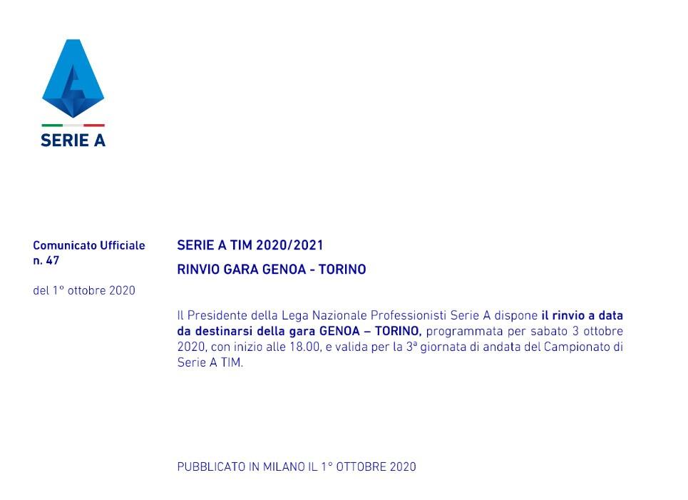 Serie A, rinviata Genoa-Torino