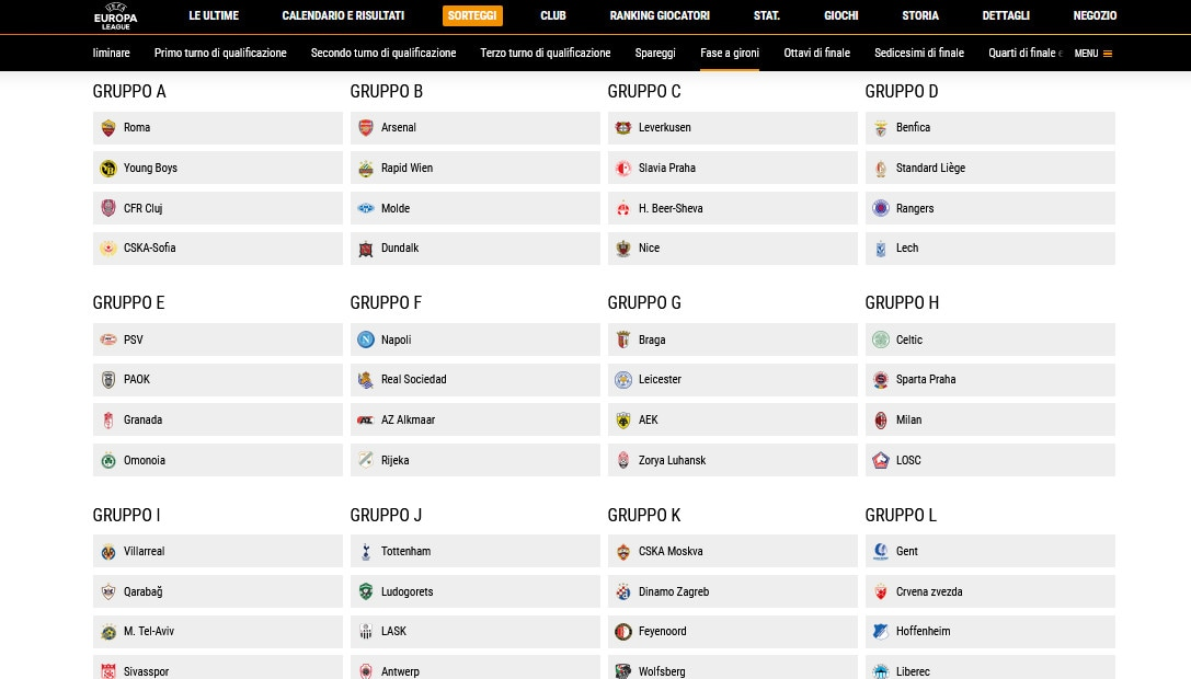 Ecco i sorteggi di Europa League