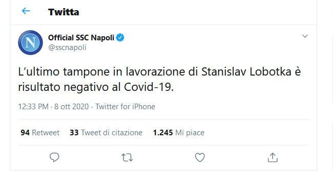 Covid-19: Napoli, il tampone di Lobotka è negativo