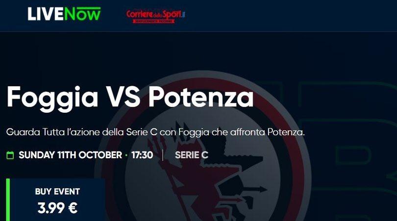 Foggia-Potenza, guardala in diretta streaming su LIVENow