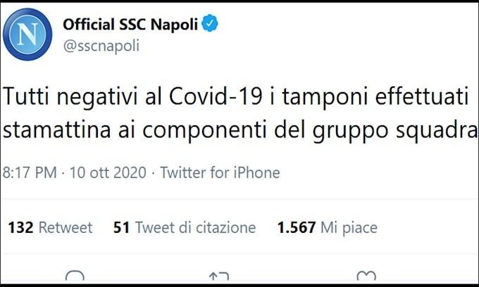 Napoli, tutti negativi i tamponi al Coronavirus