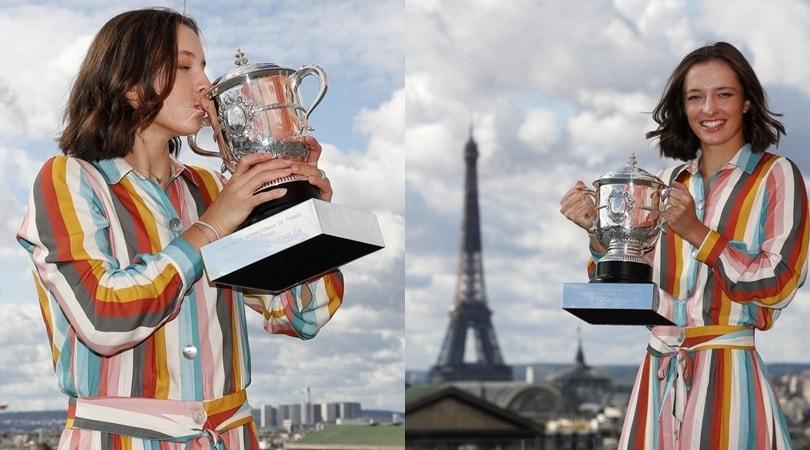 Iga Swiatek, il bacio alla Coppa Lenglen dopo il trionfo al Roland Garros