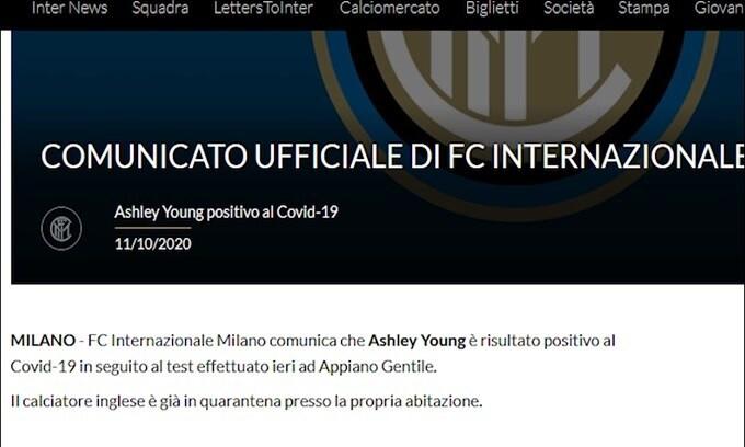 Inter: sesto positivo al Covid-19, è Young