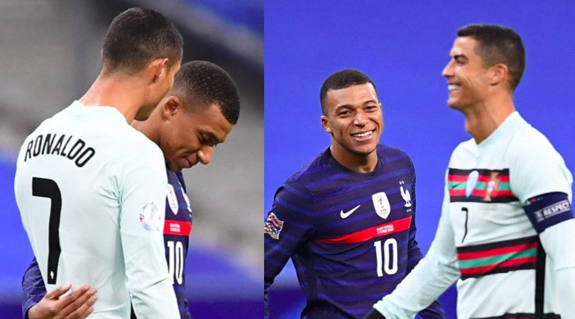 Ronaldo, chiacchierata e sorrisi con Mbappé prima di Francia-Portogallo