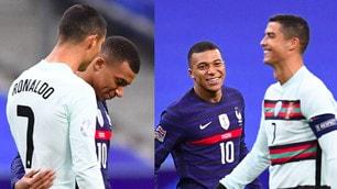 Ronaldo, chiacchiere e sorrisi di Mbappe davanti a Francia-Portogallo
