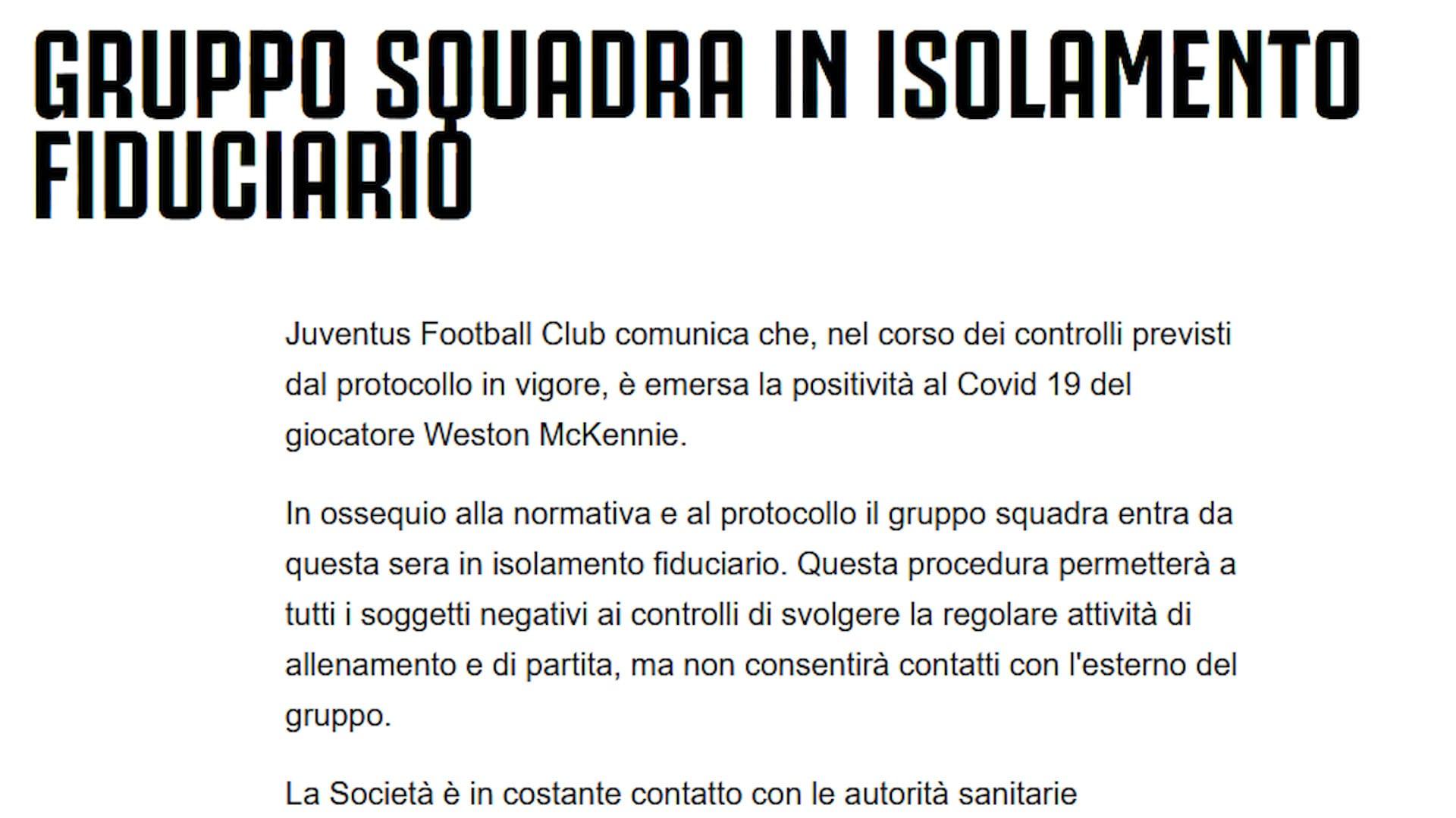 Juventus, McKennie positivo al Coronavirus