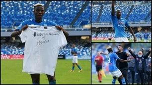 Osimhen, gol e maglia dedicata alla Nigeria: poker Napoli all'Atalanta